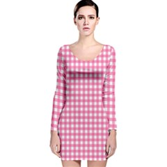 Pink Gingham Long Sleeve Velvet Bodycon Dress by retrotoomoderndesigns