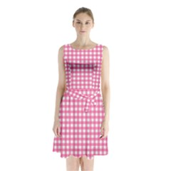 Pink Gingham Sleeveless Waist Tie Chiffon Dress