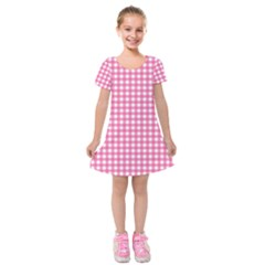 Pink Gingham Kids  Short Sleeve Velvet Dress by retrotoomoderndesigns
