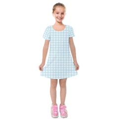 Blue Gingham Kids  Short Sleeve Velvet Dress by retrotoomoderndesigns