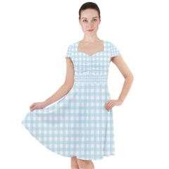 Blue Gingham Cap Sleeve Midi Dress by retrotoomoderndesigns