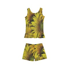 Surreal Sunflowers Kids  Boyleg Swimsuit by retrotoomoderndesigns
