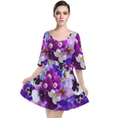 Pretty Purple Pansies Velour Kimono Dress