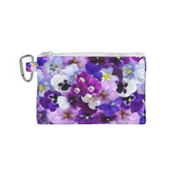 Pretty Purple Pansies Canvas Cosmetic Bag (small) by retrotoomoderndesigns