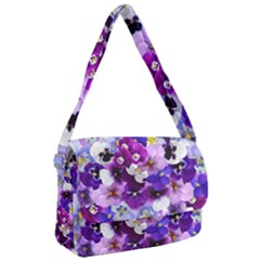 Pretty Purple Pansies Courier Bag by retrotoomoderndesigns