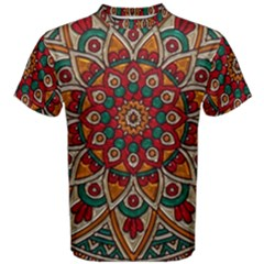 Mandala - Red & Teal  Men s Cotton Tee by WensdaiAmbrose