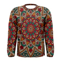 Mandala   Red & Teal  Men s Long Sleeve Tee
