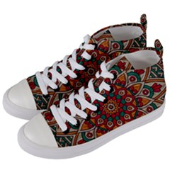 Mandala   Red & Teal Women s Mid Top Canvas Sneakers by WensdaiAddamns