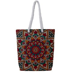 Mandala   Red & Teal Full Print Rope Handle Tote (small) by WensdaiAddamns