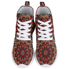 Mandala   Red & Teal Women s Lightweight High Top Sneakers by WensdaiAddamns