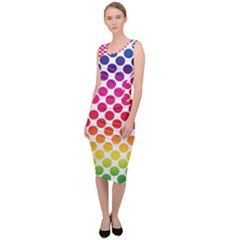 Rainbow Polka Dots Sleeveless Pencil Dress by retrotoomoderndesigns