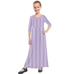 Nice Stripes In Crocus Petal  Kids  Quarter Sleeve Maxi Dress by TimelessFashion