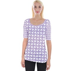 Odd Shaped Grid  Wide Neckline Tee by TimelessFashion