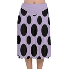 Polka Dots (large) Velvet Flared Midi Skirt
