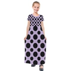 Polka Dots (large) Kids  Short Sleeve Maxi Dress by TimelessFashion