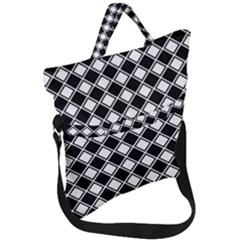 Square Diagonal Pattern Fold Over Handle Tote Bag