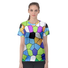 Stained Glass Colourful Pattern Women s Sport Mesh Tee