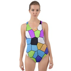 Stained Glass Colourful Pattern Cut Out Back One Piece Swimsuit