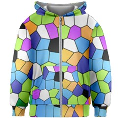 Stained Glass Colourful Pattern Kids  Zipper Hoodie Without Drawstring by Mariart