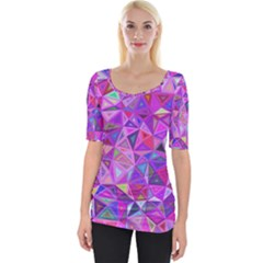 Pink Triangle Background Abstract Wide Neckline Tee