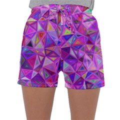 Pink Triangle Background Abstract Sleepwear Shorts by Mariart