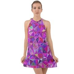 Pink Triangle Background Abstract Halter Tie Back Chiffon Dress by Mariart