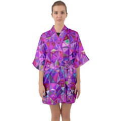 Pink Triangle Background Abstract Quarter Sleeve Kimono Robe by Mariart