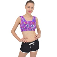 Pink Triangle Background Abstract V Back Sports Bra