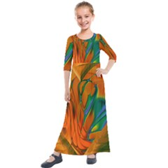 Pattern Heart Love Lines Kids  Quarter Sleeve Maxi Dress