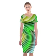 Wave Lines Pattern Abstract Classic Short Sleeve Midi Dress