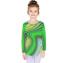Wave Lines Pattern Abstract Kids  Long Sleeve Tee
