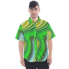 Wave Lines Pattern Abstract Men s Short Sleeve Shirt