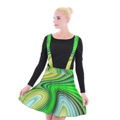 Wave Lines Pattern Abstract Suspender Skater Skirt