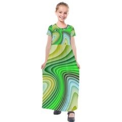 Wave Lines Pattern Abstract Kids  Short Sleeve Maxi Dress by Jojostore