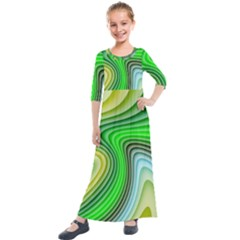 Wave Lines Pattern Abstract Kids  Quarter Sleeve Maxi Dress by Jojostore