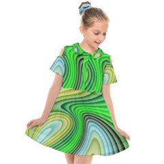 Wave Lines Pattern Abstract Kids  Short Sleeve Shirt Dress