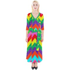 Vibrant Color Pattern Quarter Sleeve Wrap Maxi Dress