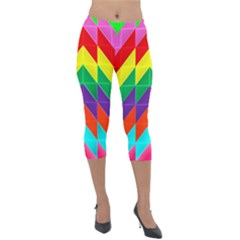 Vibrant Color Pattern Lightweight Velour Capri Leggings