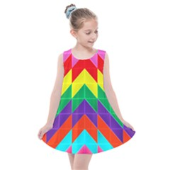 Vibrant Color Pattern Kids  Summer Dress by Jojostore