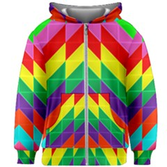 Vibrant Color Pattern Kids  Zipper Hoodie Without Drawstring