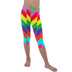 Vibrant Color Pattern Kids  Lightweight Velour Capri Leggings  by Jojostore
