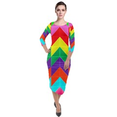 Vibrant Color Pattern Quarter Sleeve Midi Velour Bodycon Dress by Jojostore
