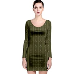 Vintage Wallpaper Long Sleeve Bodycon Dress