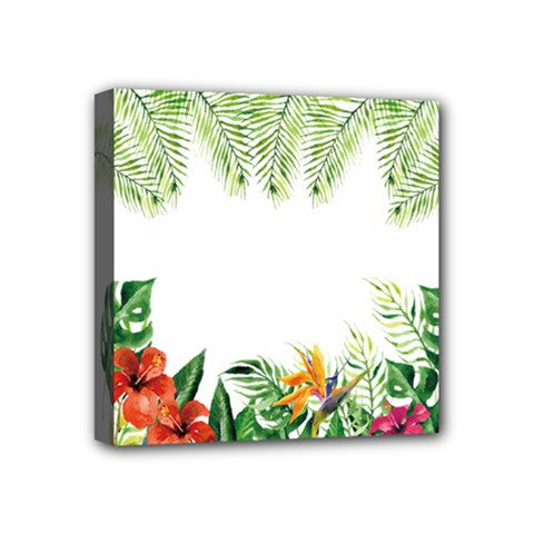 Watercolor Tropical Bottle Border Mini Canvas 4  X 4  (stretched) by AnjaniArt
