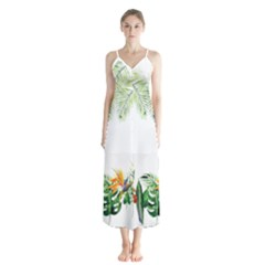 Watercolor Tropical Bottle Border Button Up Chiffon Maxi Dress