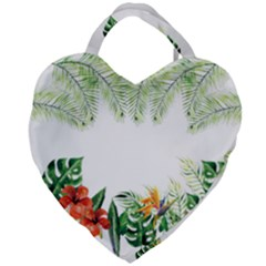 Watercolor Tropical Bottle Border Giant Heart Shaped Tote