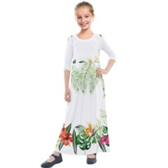 Watercolor Tropical Bottle Border Kids  Quarter Sleeve Maxi Dress
