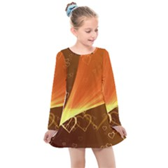 Valentine Heart Love Gold Kids  Long Sleeve Dress by AnjaniArt
