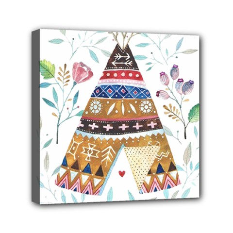 Triangle Tent Mini Canvas 6  X 6  (stretched) by AnjaniArt