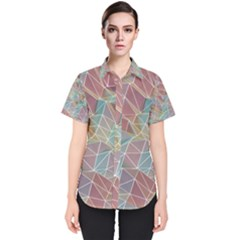 Triangle Mesh Render Background Women s Short Sleeve Shirt by AnjaniArt